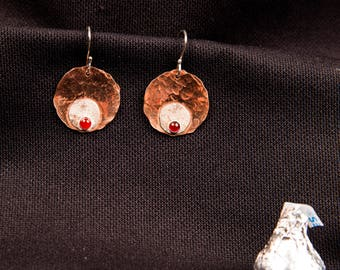 sterling silver and copper dangle earrings with carnelian