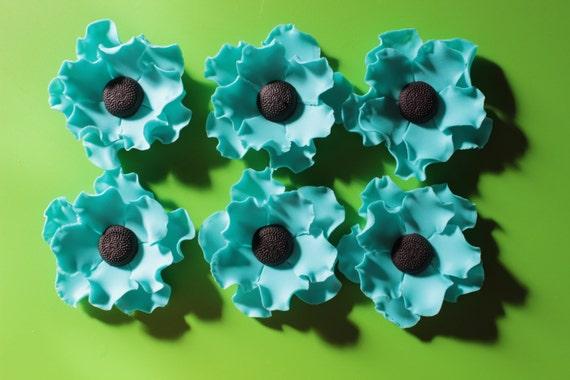 Fondant flowers 6 turquoise edible fondant flowers poppy mightylinksfo