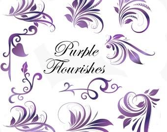 Clip Art:  Purple Flourishes Swirl  Embellishments   Transparent Png  Files 151