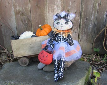 Halloween Art Collectible Doll - Day of the Dead - Dia de los Muertos - Sugar Skull - Stella - One of a Kind Collectible - Jointed Doll