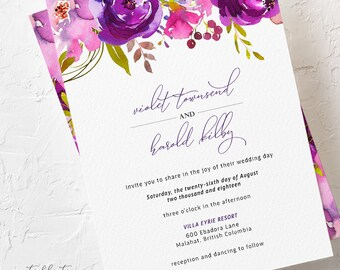 Purple Passion - Wedding Invitations (Style 13785)
