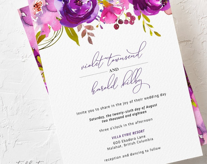 Featured listing image: Wedding Invitations - Purple Passion (Style 13785)
