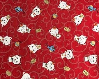 Manekineko - Kawaii Japanese Fabric (1/2 yard increments)