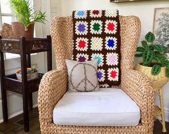 Vintage Throw Blanket Crochet Blanket Crochet Granny Square Blanket Patchwork Throw Crocheted Blanket Throw Granny Square Afghan Brown Throw
