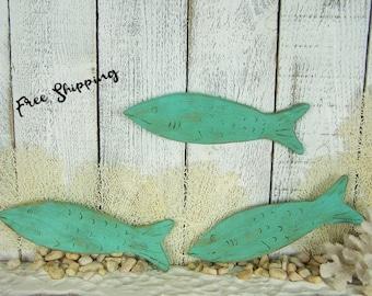 Wooden Fish Wall Art Nautical Fish Decor School of Fish Wall Decor Tropical Fish Wood Fish Art Fish Sign Beachy Decor Beach Coastal Decor