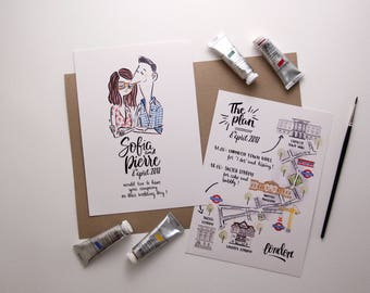 Illustrated Wedding Invitation with Map - watercolour illustration, bespoke stationery, wedding illustration, calligraphy