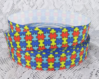 Autism Ribbon 7/8 inch grosgrain ribbon Autism Awareness Ribbon autism puzzle ribbon