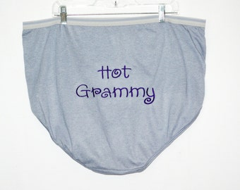 Granny Panties, Hot Grammy,  Embroidered, Funny Custom Personalized, Big Large Size Gag Gift Panties, Ready To Ship TODAY, AGFT 875