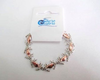 Copper or Enameled Crab Bracelets