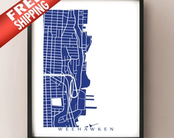 Weehawken, New Jersey Map Print