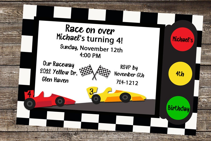 Race Car Birthday Race Car Invite Race Car Invitation Cars