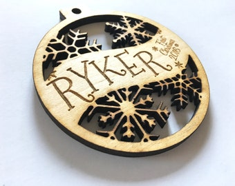 Ryker - Customizable Baby's First Christmas Ornament - Engraved Birch Wood Ornament