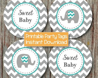 Aqua Grey Elephant Printable Baby Shower Cupcake Toppers INSTANT DOWNLOAD diy Baby Shower Favor Tags Party Supplies Sweet Baby Boy 036