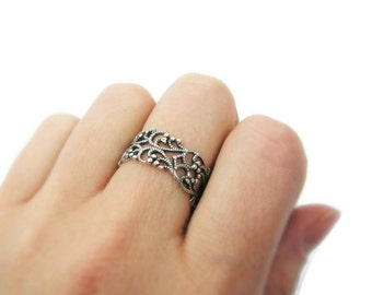 Lace ring. Silver ring. Sterling silver ring. Open work sterling silver. silver jewelry, Wide silver ring. Wide ring. Gift for her