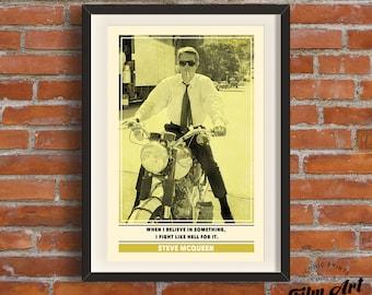 Steve McQueen | Retro Movie Star Quote Print A3 Art