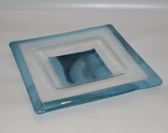 Soft Edged Fused Platter in Marine Blue and Clear
