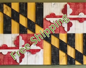 Rustic Maryland Flag Constructed from Reclaimed/Repurposed Wood (Free Shipping)