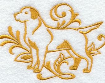 Elegant Damask Labrador Embossed Style Embroidered Flour Sack Hand/Dish Towel