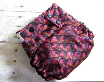 Red Dragon Scales OS Ai2 w/ Bamboo Insert Cloth Diaper All in Two {Version 2.0}