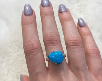 Kingman turquoise sterling silver ring size 7