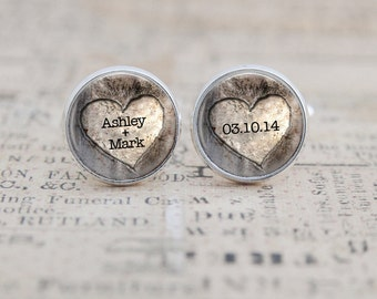 Groom Cufflinks, Wedding Cufflinks, Custom Cuff Links, Rustic Wedding, Heart Cufflinks, Groomsmen Gift