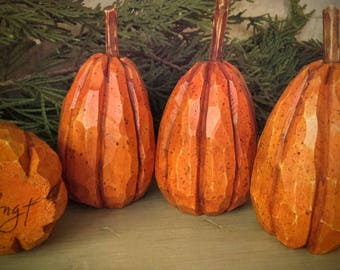 Carved,Wooden,Pumpkins,Fall Decor, (4)