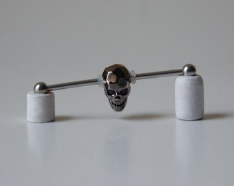 Industrial Barbell with Carved CZ Skull -HIGH QUALITY - Industrial bar earring - Unique Body Jewelry - 14g