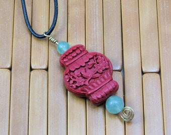 Asian Red Lacquer Bead Pendant with Green Aventurine, Asian Styled Beaded Necklace on Black Leather Cord, Brass Wrapped Asian Pendant