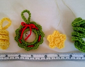 Small, Christmas crochet ornaments