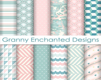 Soft Beach: 12 Digital Papers– in Teal, Blue, White, and Blush Patterns for Backgrounds, Invitations, Scrapbooking, and Web Design (007p1)