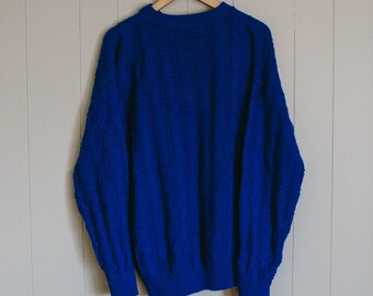 Electric Blue Large Oversized Chunky Knit Men's Sweater