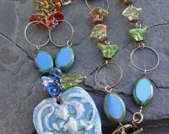 Handmade Porcelain Pendant Deep Blue Iris Peach Pearl Glass Flowers Brass Rings Necklace Boho Woodland