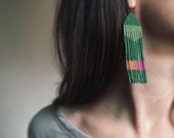 """NEW """"Ode to Sun"""" Handmadewarrior Bead Fringe Earrings Long"""