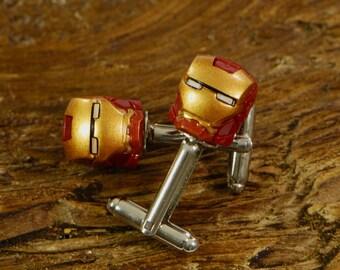 Iron Man Cufflinks - Premium Handmade Cuff Links For Weddings or Birthdays - Gift For Him - Sci-Fi Gift For Men - Fun Present For Him