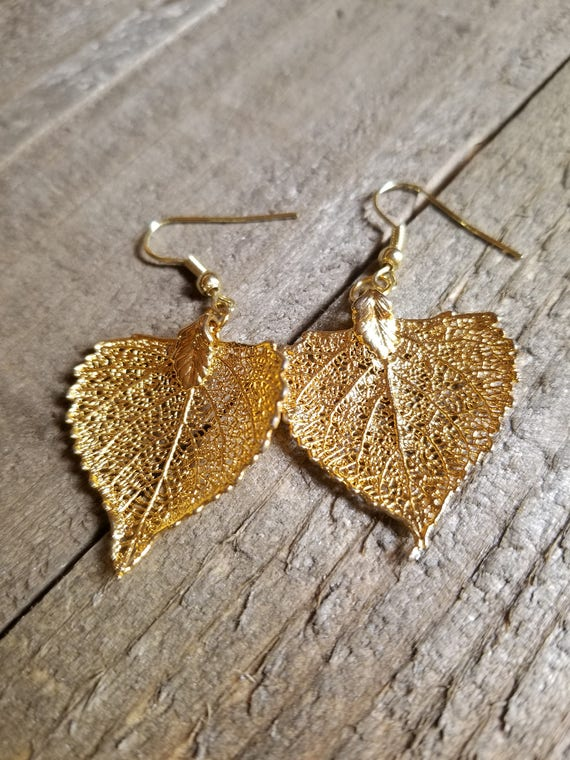 24k Gold Dipped Real Cottonwood Tree Leaf Drop Dangle Earrings Nature Outdoor Earth Jewelry Beautiful