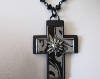 Pretty black and silver stylized religious Cross pendant necklace
