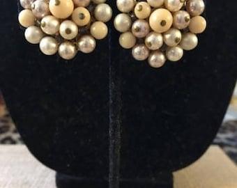 Vintage Pearl Cluster Clip Earring