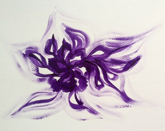 Purple-orchids. Original, acrylic, abstract, modern painting.