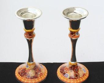 Candle stick holders in bright Orange, Bat Mitzvah gift Shabbat candlesticks,  Modern Judaica, Candlestick holders , Rosh Hashana Gift