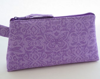 Purple butterfly and dragonfly motif cosmetic bag