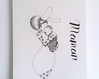 Affiche unique, Maman, dessin encre, bretagne, encre noire, illustration maman bébé, cadeau maman, cadeau mère, affiche maman, bigoudene,
