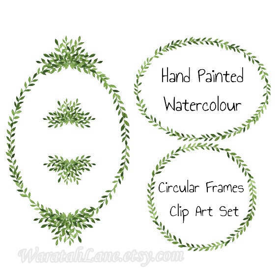 Wreath Frames Clip Art Watercolor Oval Round Clipart Wreath from ...