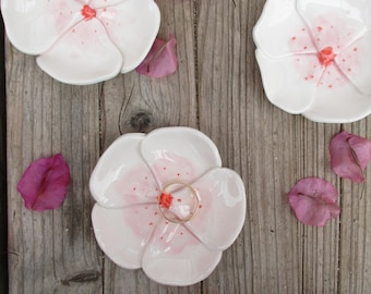 Cherry Blossom Flower,White,Pink,Ring Dish,Keepsake Bowl,Engagement Ring dish,Trinket Bowl,Birthday Gift for her,Cherry blossom,pottery