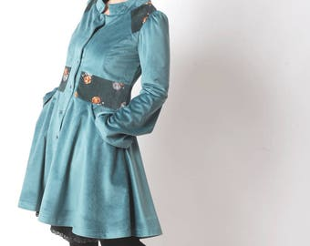 Blue velvet coat, Lagoon blue womens coat, Flared womens velour coat, Womens clothing, Womens coats, MALAM, size UK 10