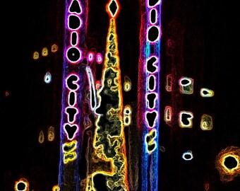 Radio City Music Hall Christmas lights, Times Square, Christmas in NYC, printable art, instant download