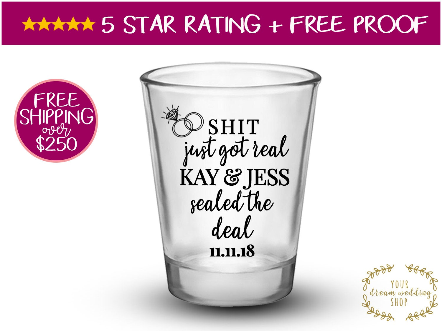 Contemporary Wedding Shot Glasses Party Favors Adornment - The ...