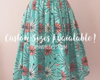 REDUCED Custom 1950s 50s Inspired Atomic Print Full Skirt | Mid Century Full Gathered Modest Skirt | JW Clothing Retro Rockabilly Skirt