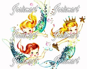 Vintage Digital Download Mermaid Trio Girl Vintage Image Collage Large JPG and PNG
