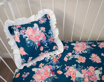 Navy Floral Pink Coral Pillow COVER only
