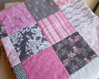 Paris Throw Quilt, Teen Quilt in Pink and Gray Paris Motif Patchwork Quilt, Paris Lap Quilt, Toddler Pink and Gray Paris Quilt